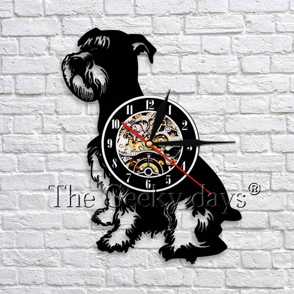 Mini Schnauzer Dog Walll Clock Giant Schnauzer Dog Vinyl Clock Animal Puppy Silhouette Wall Art Decor Gift For Pet Lover Silhouette Wall Art Schnauzer Schnauzer Dogs