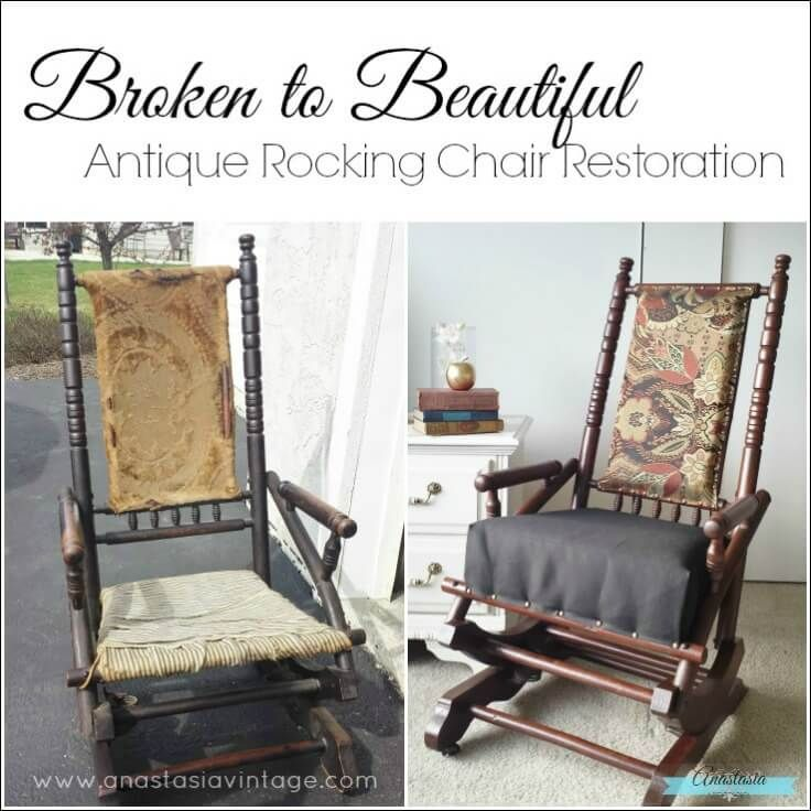 antique primitive wooden rocking chair restored gel stain upholstered - Antique Rocking Chair Restoration: Broken To Beautiful Rocking Chairs