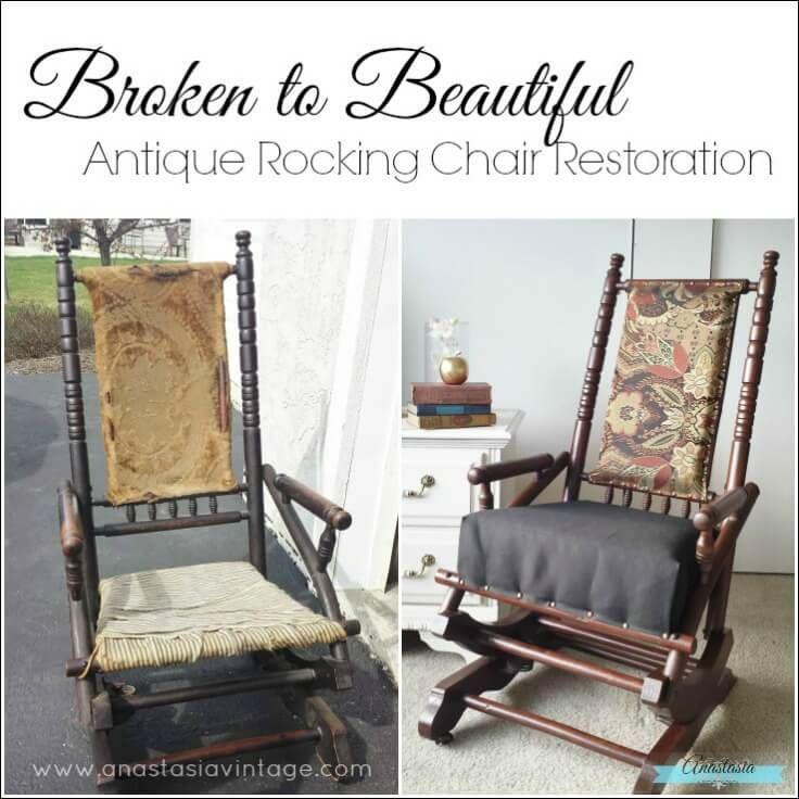 Antique Primitive Wooden Rocking Chair Restored Gel Stain Upholstered