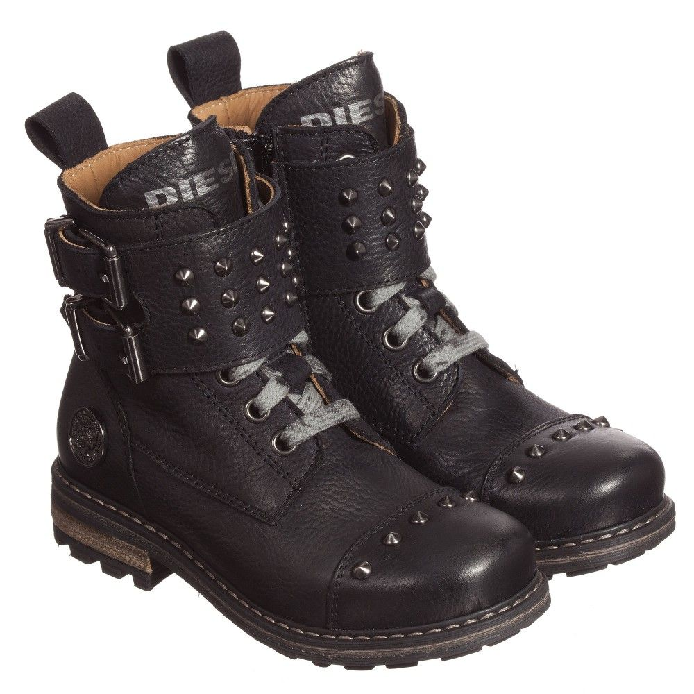 Black Leather Biker Boots with Studs | Them, Pewter and Lace