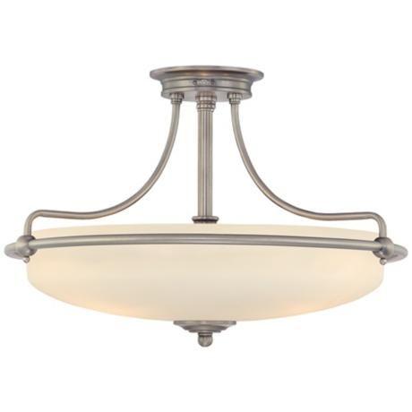 "Griffin Collection Antique Nickel 21"" Wide Ceiling Light | LampsPlus.com"