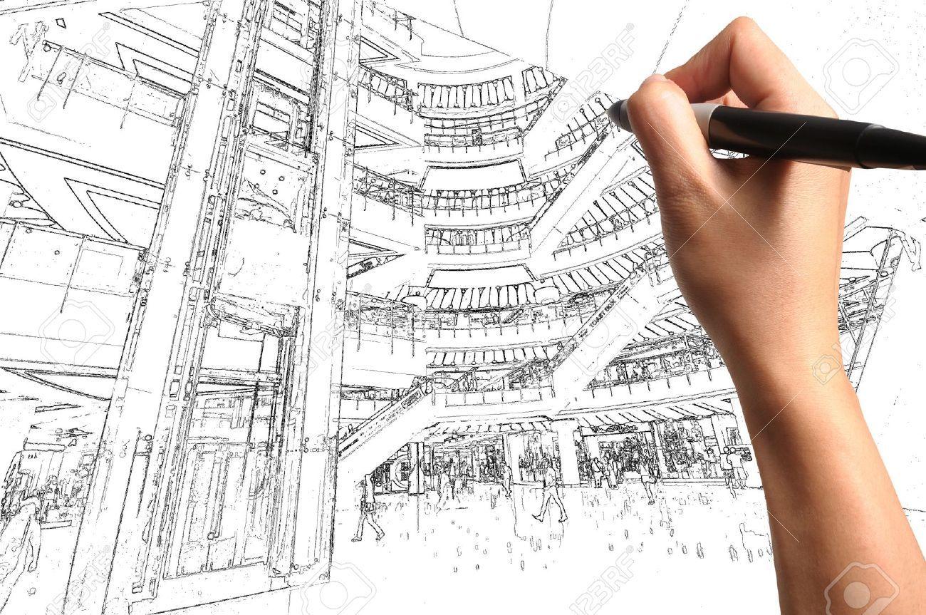 12253239 male hand draw building interior design stock