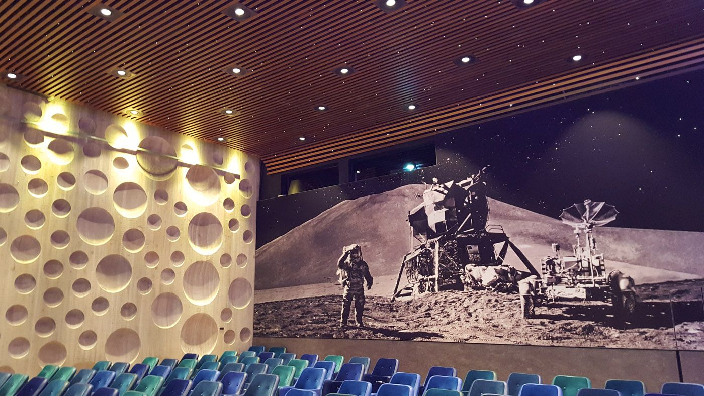 That moon landing lecture hall was seriously pretty cool (with twinkling ceiling and wall stars)!