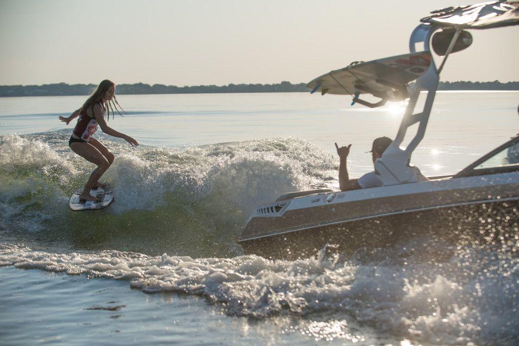 Wakesurfing behind the 2018 Super Air Nautique GS22 in