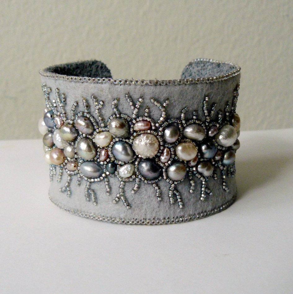 Bead embroidery cuff bracelet with freshwater pearls by