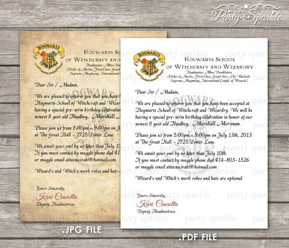 PRINTABLE Hogwarts Acceptance Letter Invitation by PartySparkle