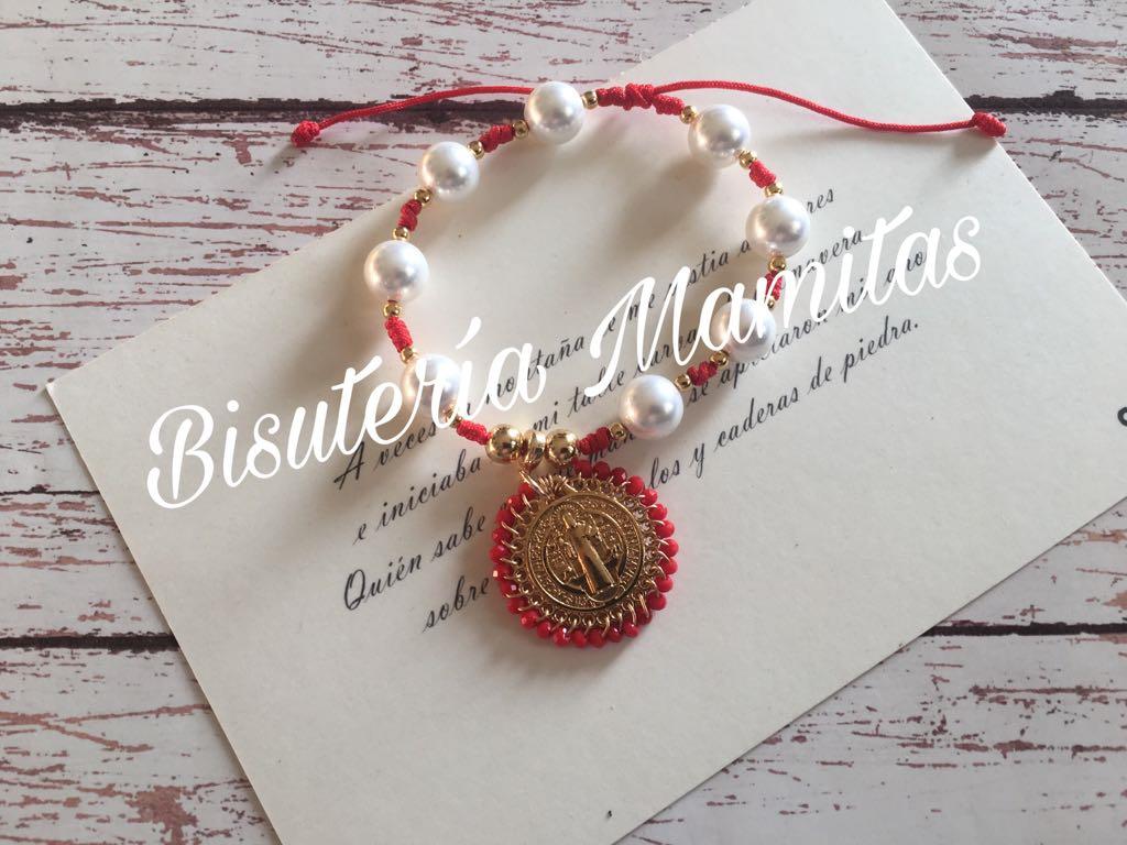 e975aae918dd Pulsera de hilo chino rojo, con perla natural Mallorca 10 mm blanca ...
