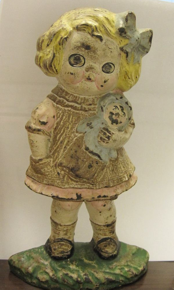Rare Antique Hubley Campbell Soup Kid Girl Doll Cast Iron