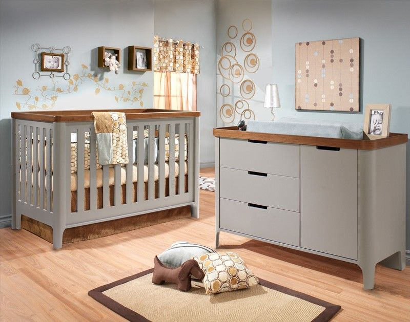 tulip piccolo collection 2 piece nursery set crib and combo dresser in stone grey and walnut. Black Bedroom Furniture Sets. Home Design Ideas