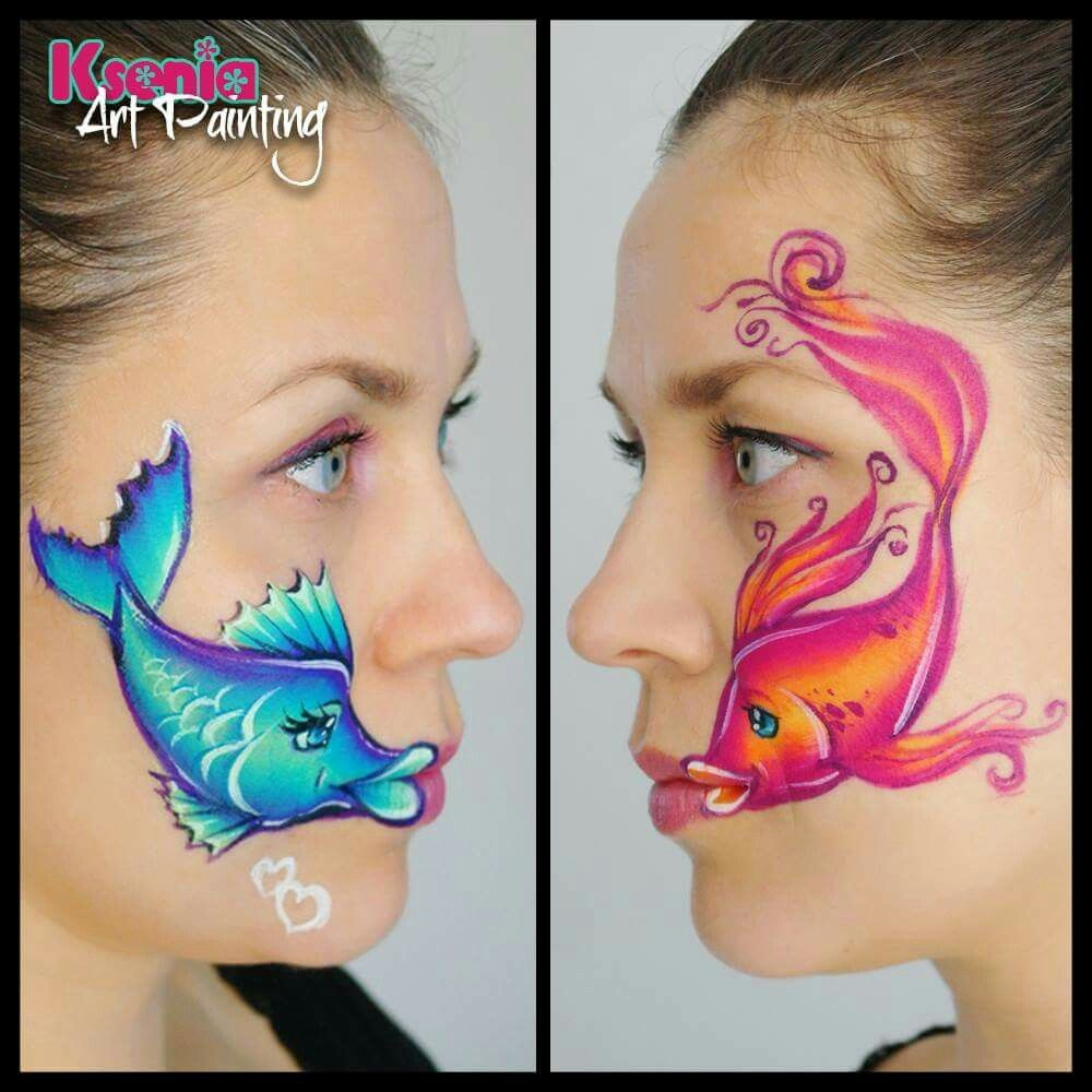 Fish Face Paint Face Painting Designs Mermaid Face Paint Face Painting Easy