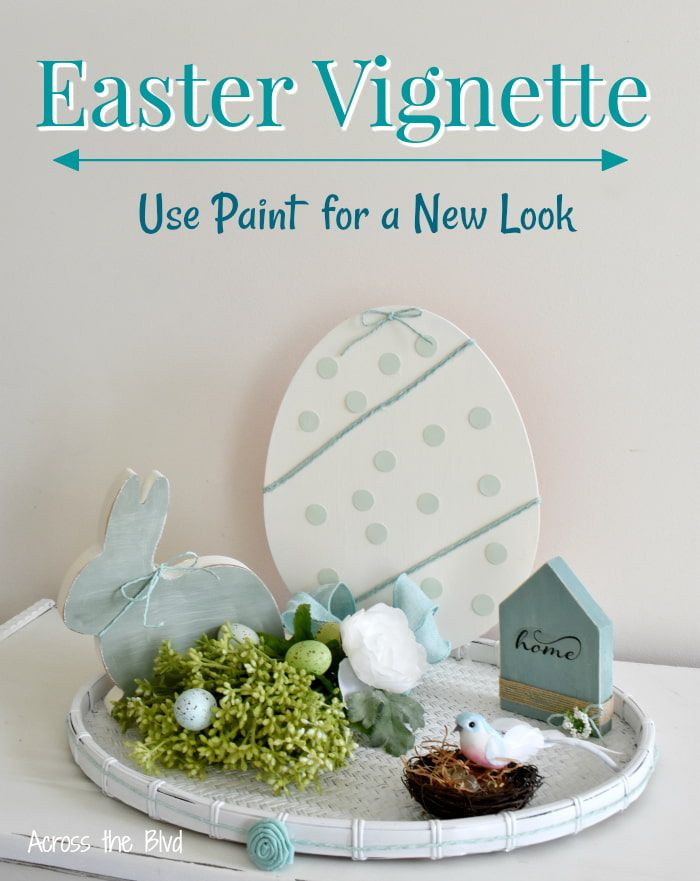 Use paint to create a new look for old decor pieces for an Easter Vignette #easterdecor #eastervignette #thriftstorefind #easter