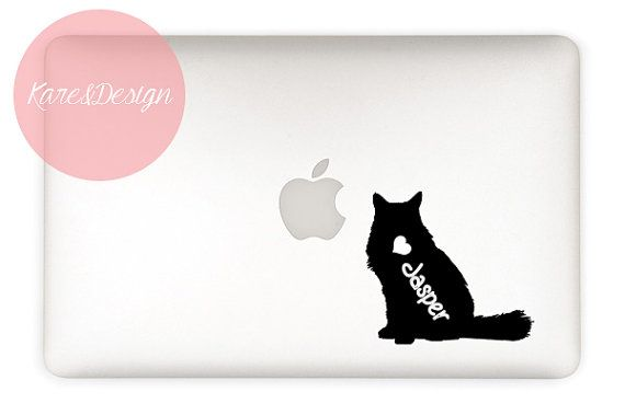 Longhaired Cat Decal  customizable pet name  by KareAndDesign, $4.99