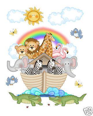 Noahs Ark Wall Mural Decals Bible Story Baby Nursery Safari Animals Art Stickers
