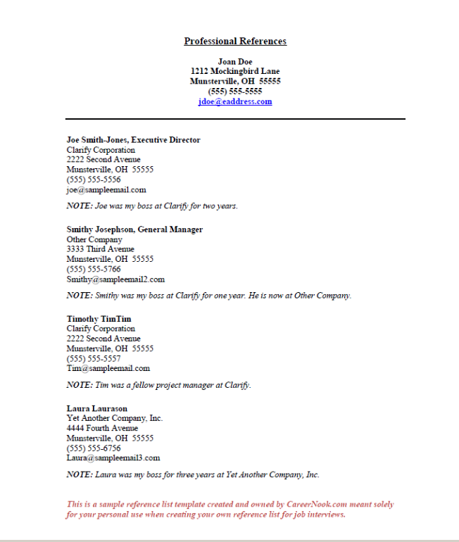 Resume Reference Page Samples Rome Fontanacountryinn Com