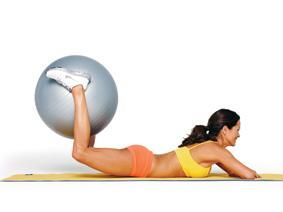 Squeeze, Curl  Lift- Lie facedown with arms crossed in front of you and squeeze a stability ball between your lower legs. Bend knees 90 degrees, then lift thighs off the floor. Hold for 1 count, return to the starting position, and repeat butt exercise. Do 15 reps. #glutes #burke #workout via   http://www.shape.com/celebrities/interviews/brooke-burkes-15-minute-butt-workout?page=4