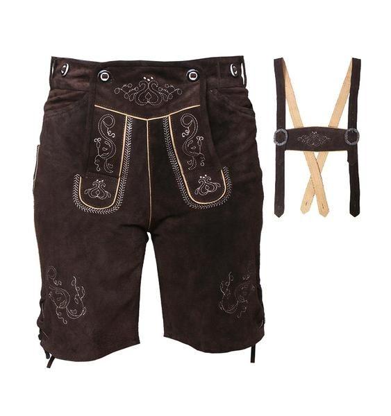 Men Authentic German Bavarian Lederhosen Cowhide Leather Oktoberfest Red Brown 2OAY09AC