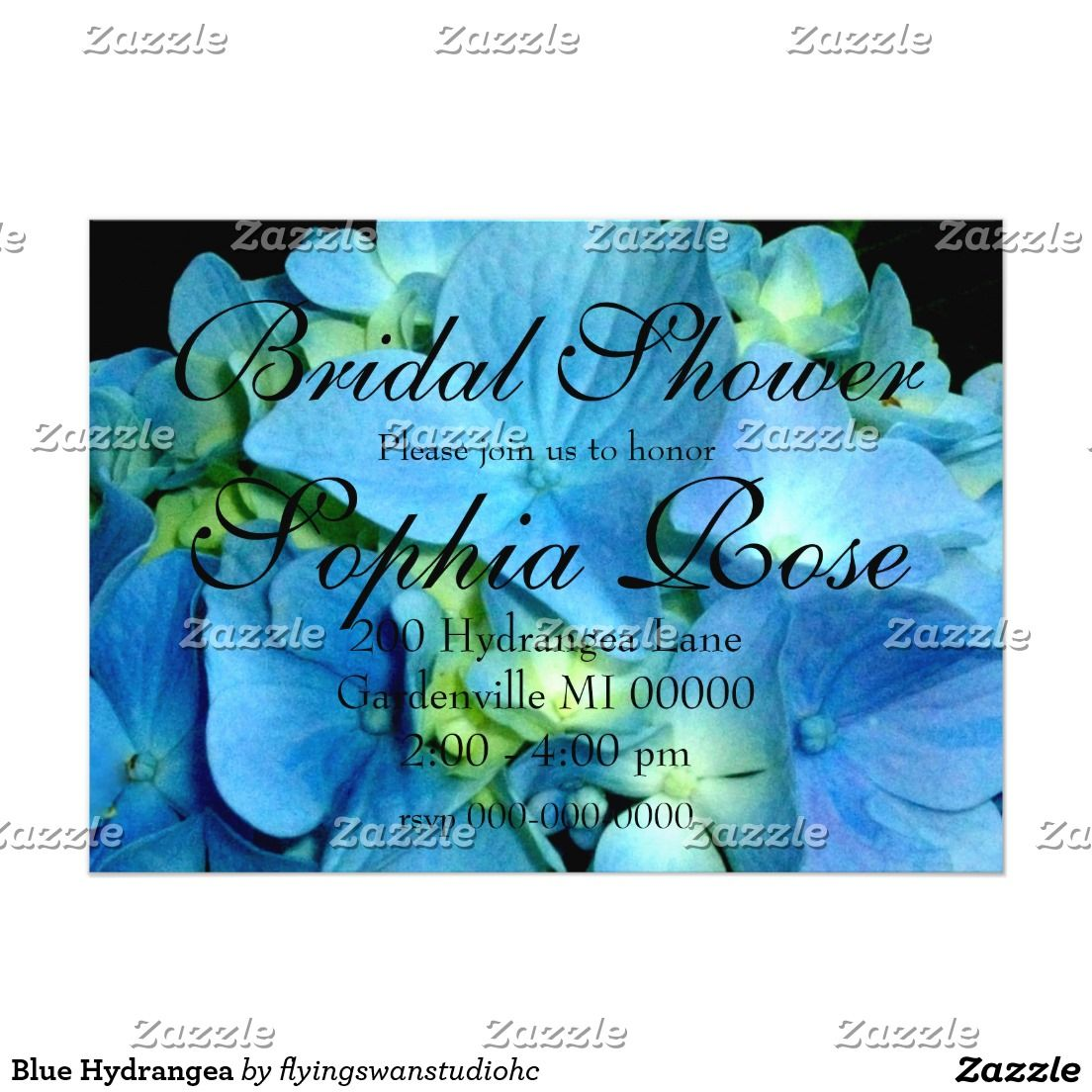Blue Hydrangea Card Bridal shower invitation - customize at Zazzle.com