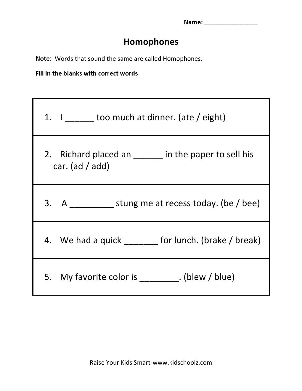homophones worksheet year 1 kidz activities. Black Bedroom Furniture Sets. Home Design Ideas