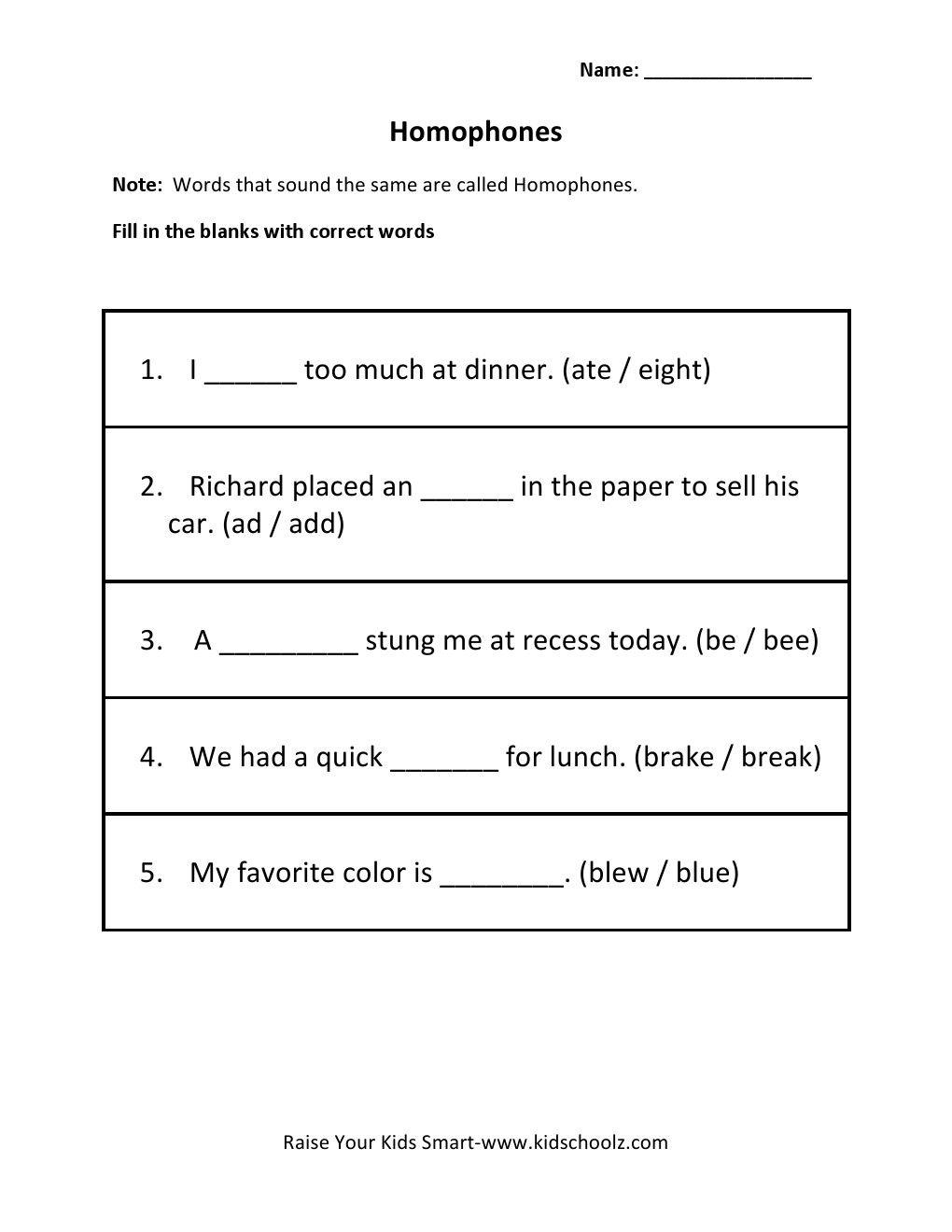 www.kidschoolz.com wp-content uploads 2014 09 homophones-1.jpg   2nd grade  worksheets [ 1320 x 1020 Pixel ]
