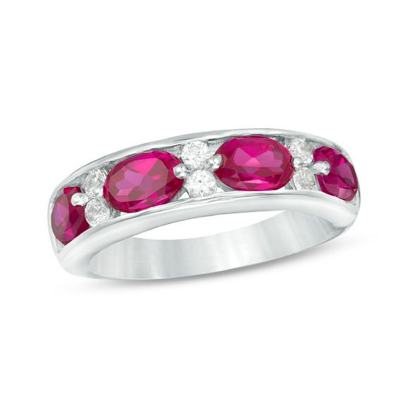 Zales Lab-Created Ruby and White Sapphire Wave Band in Sterling Silver nIobNk