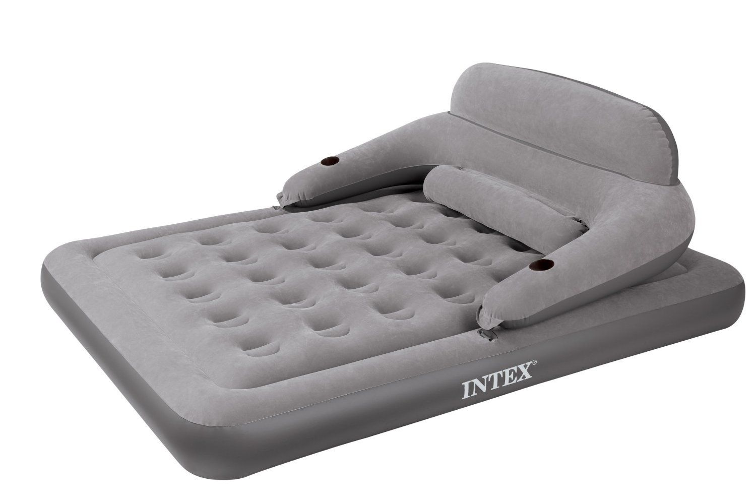 Intex Convertible Lounge Queen Bed Kit Queen Sized Airbed That Converts Into A Relaxing Lounge Chair Comfort Backrest Buc Air Mattress Camping Queen Beds Bed