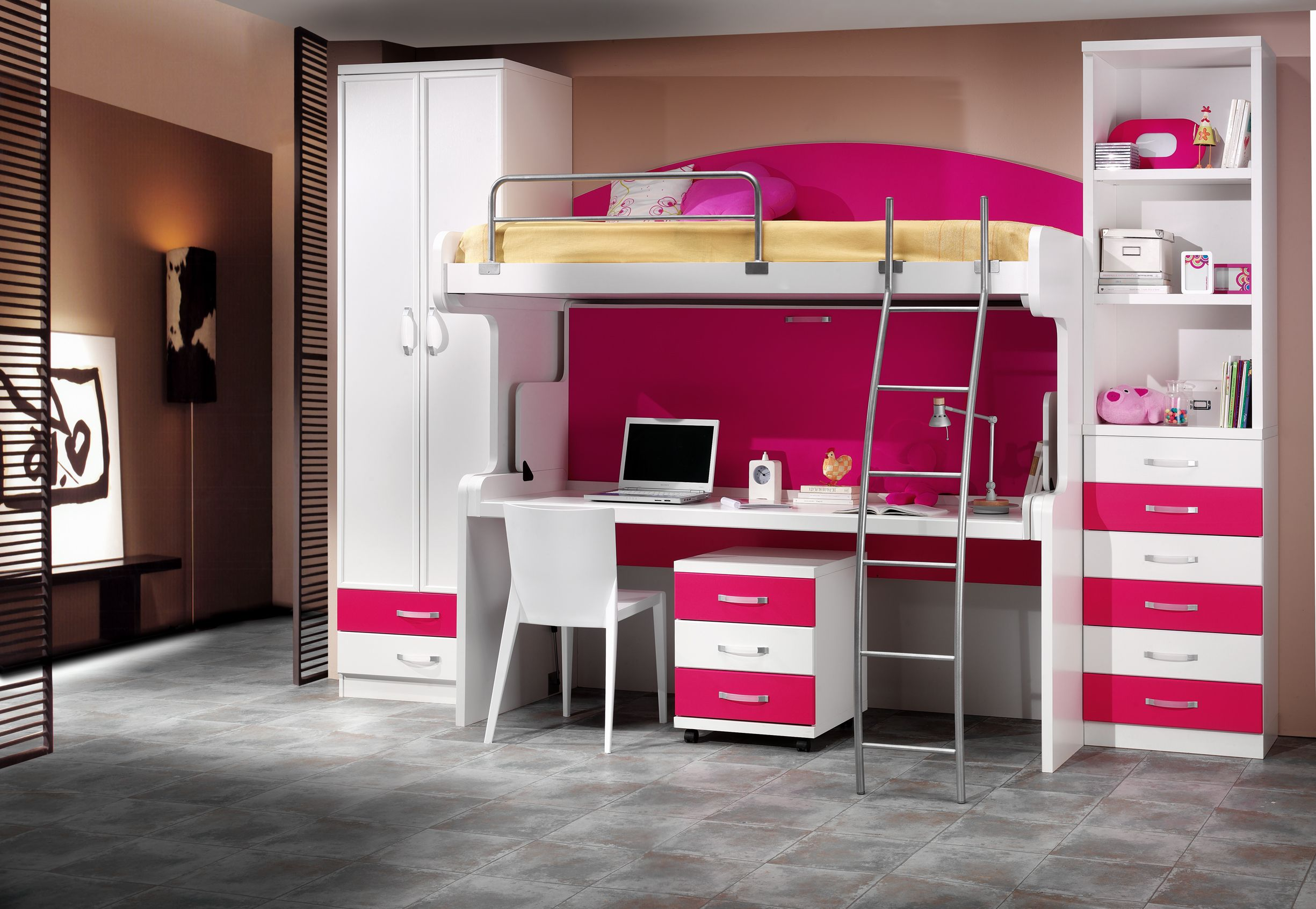 Double deck bedroom for kids girls - Hiddenbed S Double Decker Desk Bed