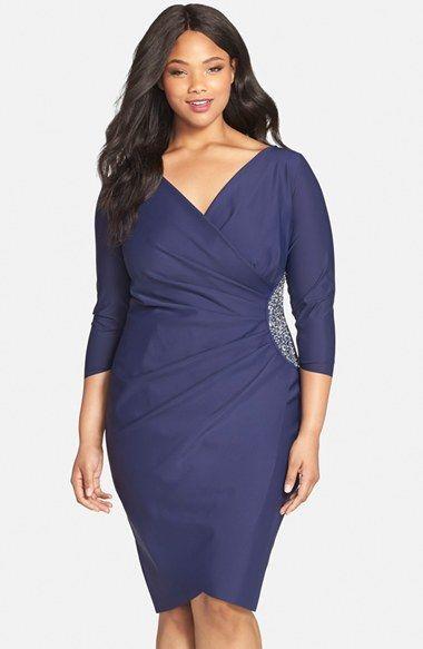 Embellished Side Ruched Jersey Cocktail Sheath Dress (Plus Size ...