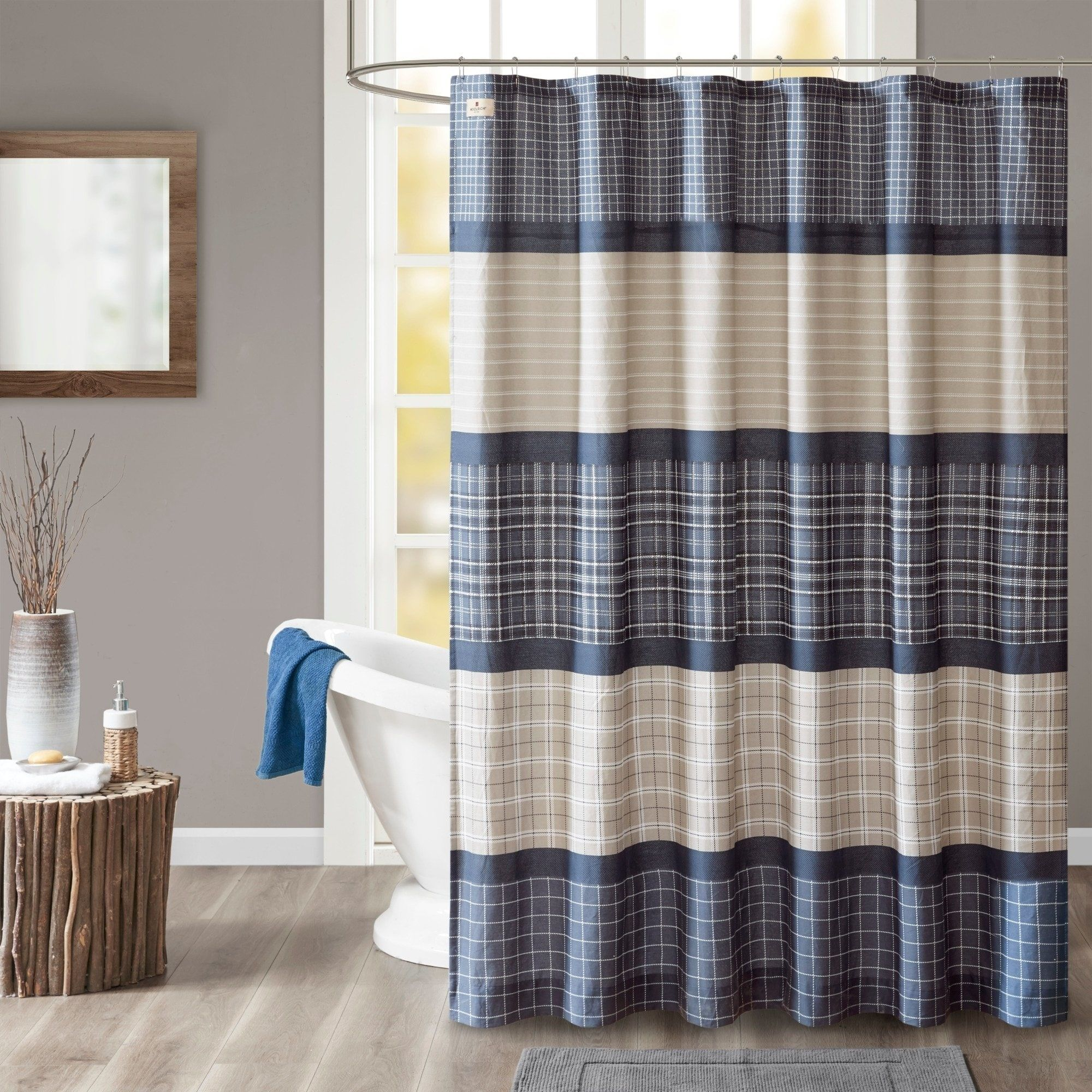 Woolrich Flagship Blue Grey Cotton Printed Plaid Shower Curtain Plaid Shower Curtain Curtains Curtain Lights