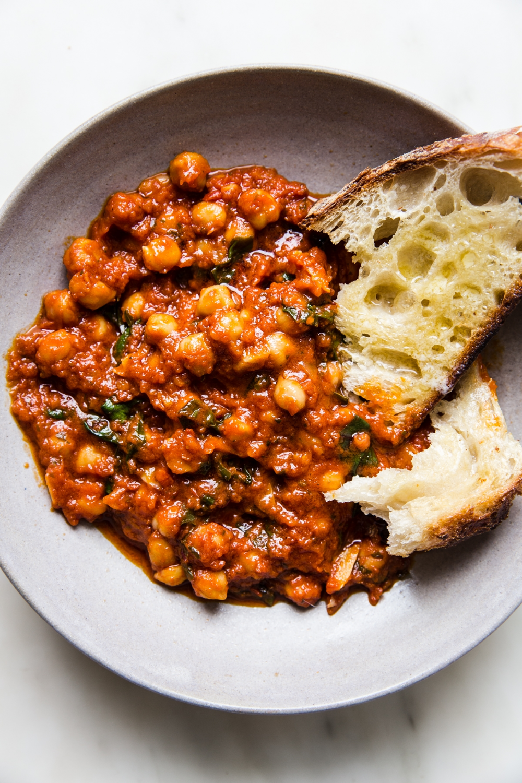 Braised Chickpeas With Chard The Modern Proper Recipe In 2020 Easy Vegetarian Dinner Vegetarian Dinner Vegetarian Dinners