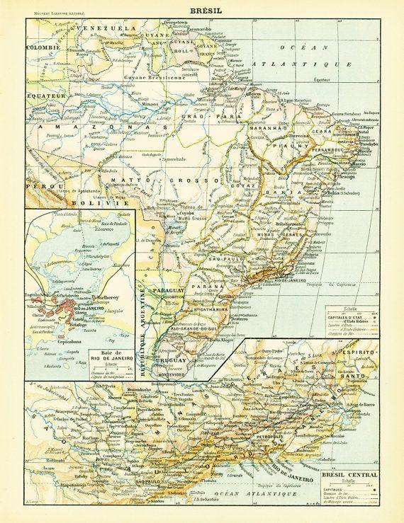 1897 Bresil Grand Format Amazonie Carte Par Sofrenchvintage Sur