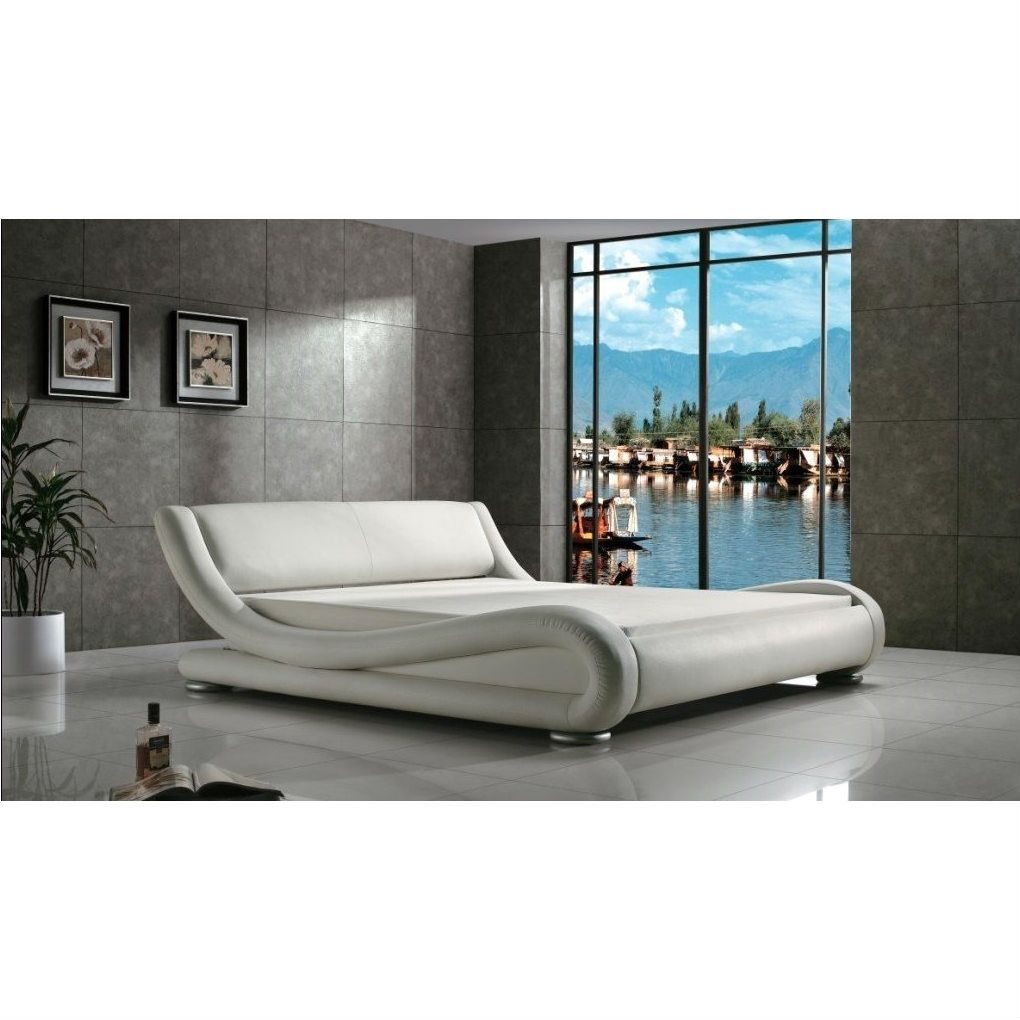 Queen Modern White Upholstered Platform Bed Curved Sides
