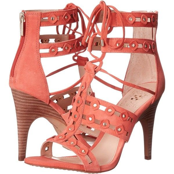 931c41f418 Vince Camuto Kazie (Soft Coral) Women's Shoes (€93) ❤ liked on Polyvore  featuring shoes, sandals, orange, caged shoes, caged sandals, studded  sandals, ...