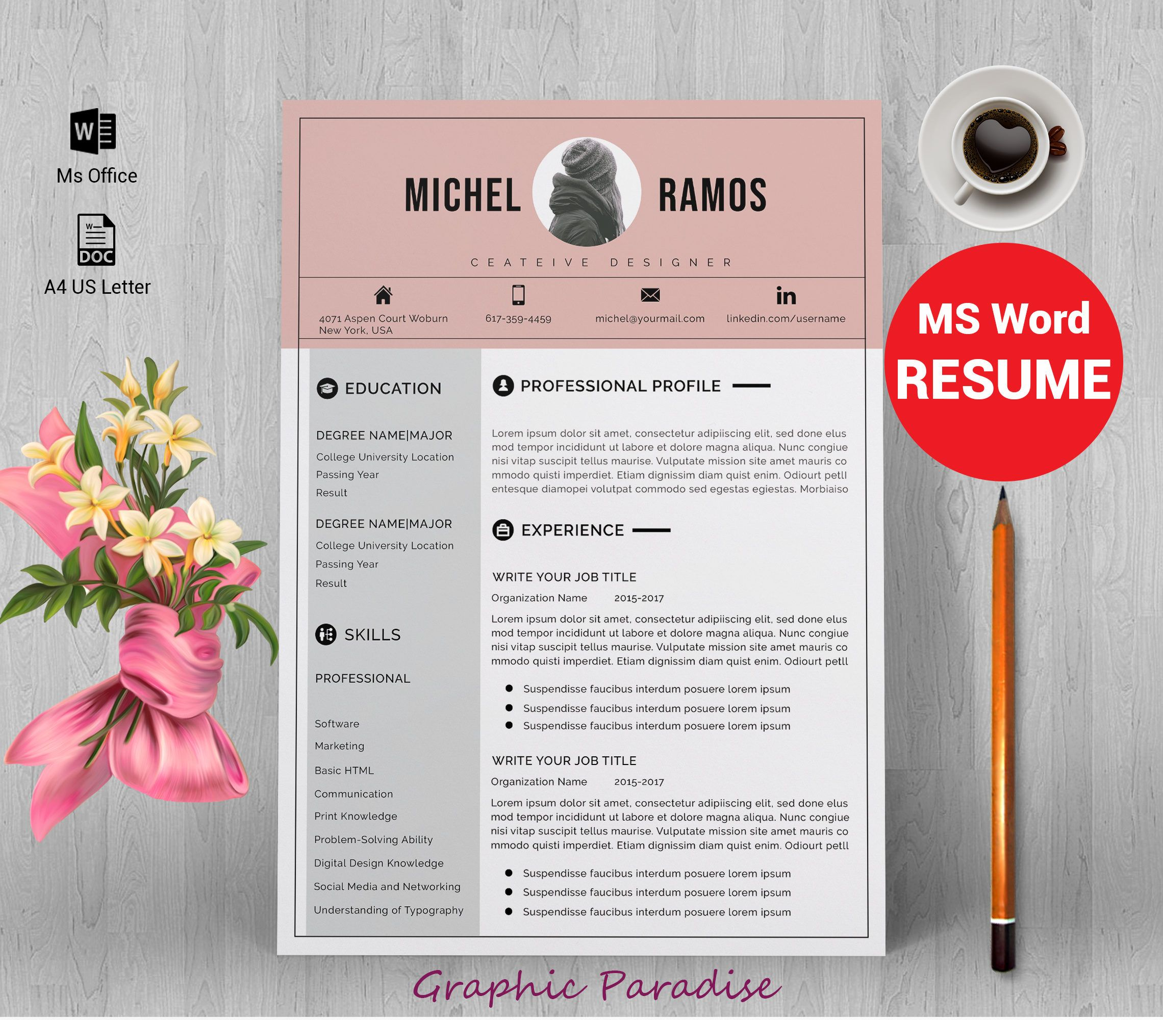 Professional resume template instant download| MS word resume ...