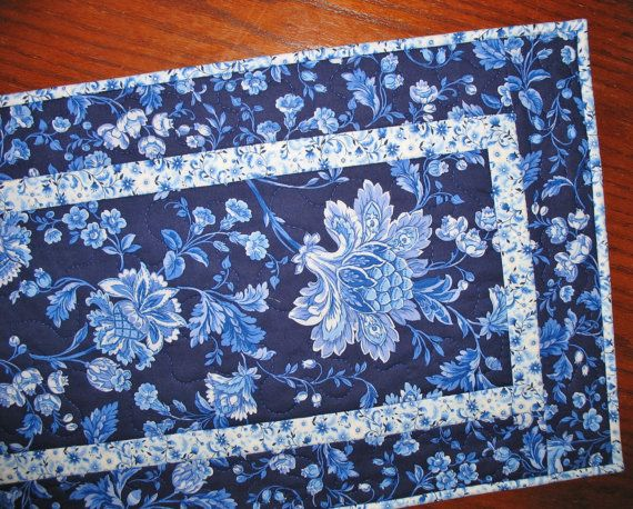 Floral Table Runner in gorgeous blues quilted by PicketFenceFabric, $34.95