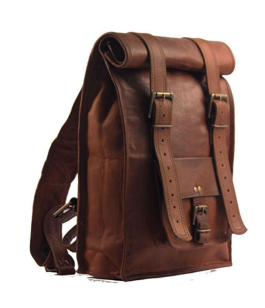 Leather Roll On Backpack Rucksack Vintage Retro Looking Bag Vegetable Tanned