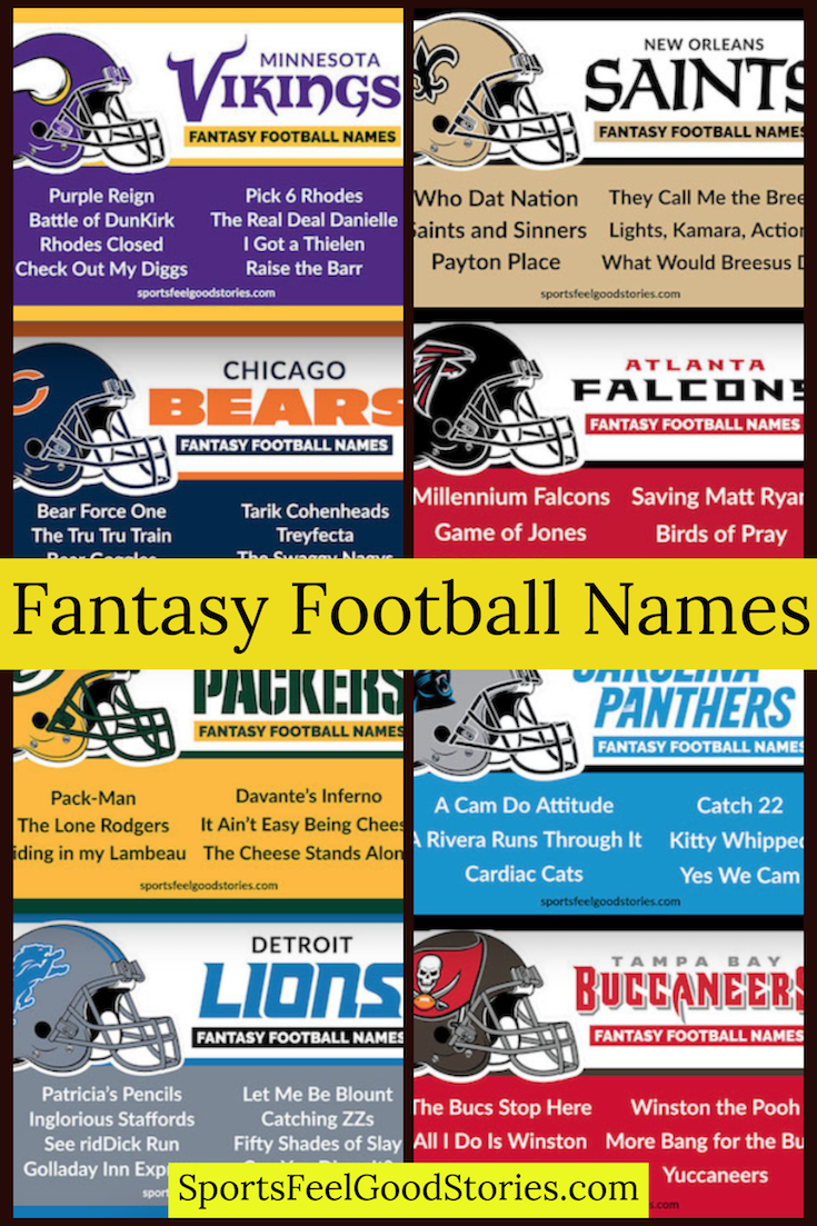 Best Fantasy Football Names Sorted By Team Sports Feel Good Stories Football Names Fantasy Football Names Cool Fantasy Football Names