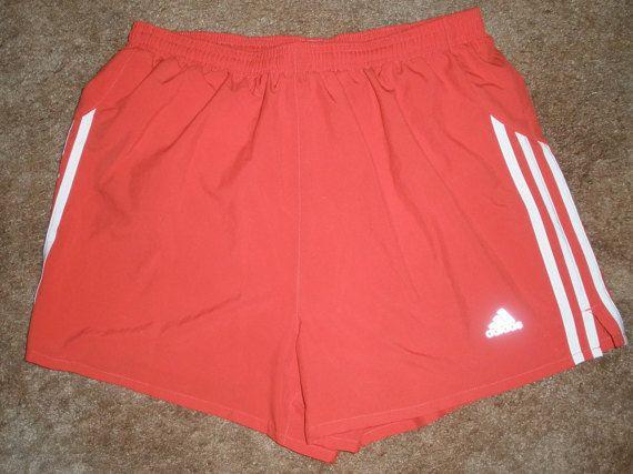 Mens Vintage Adidas Running Shorts Pale Red 3 Stripes Medium Inner ...