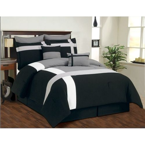 Ash Grey High Quality Micro Suede Comforter Set bedding-in-a-bag Black