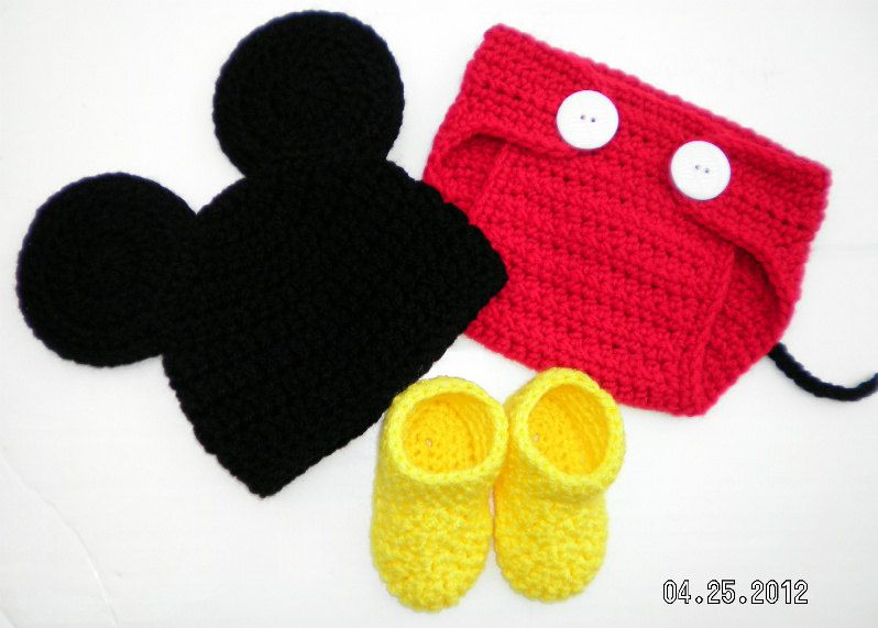 Custom crochet Mickey Mouse ears hat beanie diaper cover and booties ...