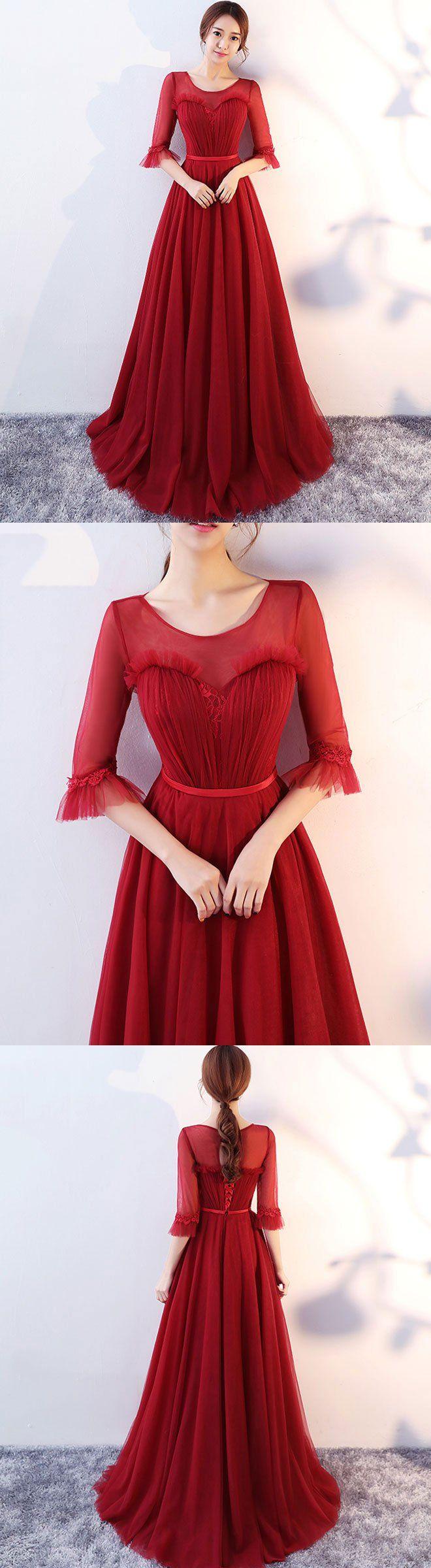 Burgundy round neck tulle long prom dress evening dress long prom
