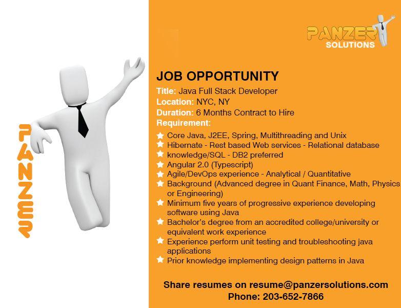 Java full stack developer job opportunities business