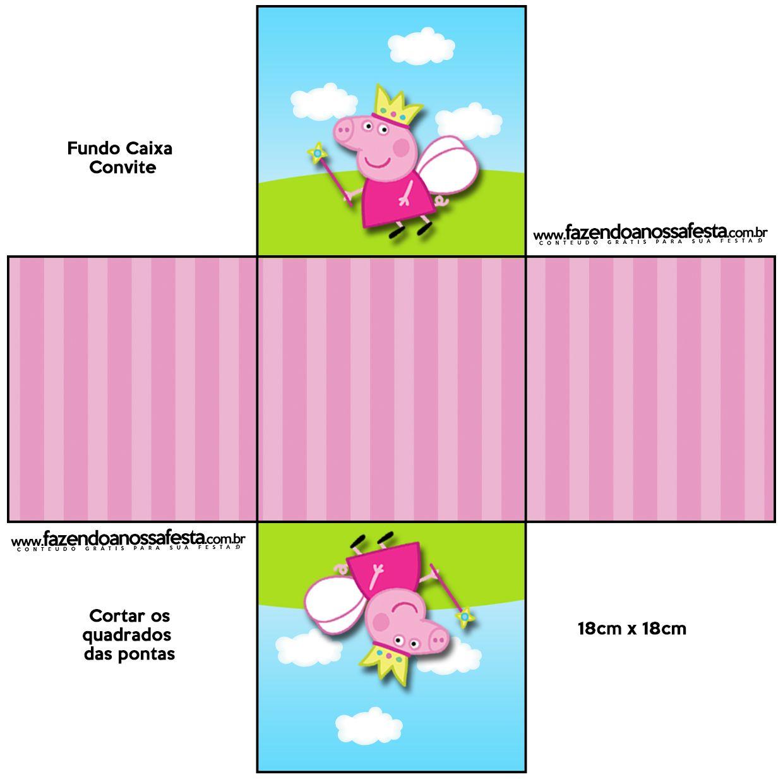 Convite Caixa Fundo Peppa Pig Princesa: