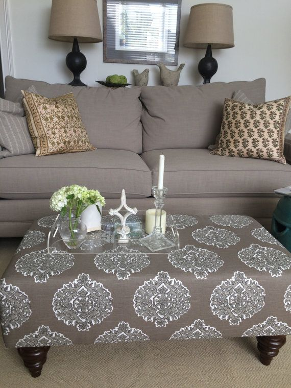 upholstered ottoman coffee table brown and white by theedenshouse traditional home. Black Bedroom Furniture Sets. Home Design Ideas