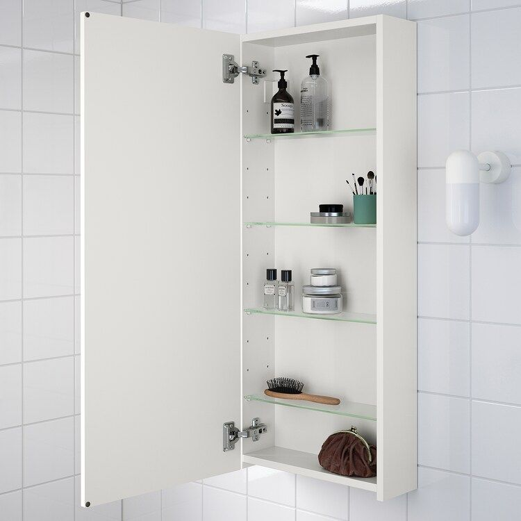 Ikea Godmorgon Resjon White Wall Cabinet With 1 Door In 2020 Bathroom Wall Cabinets Ikea Wall Cabinets Ikea