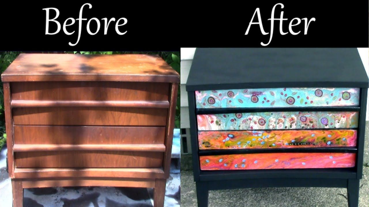 Paint Pouring On Furniture. Refinished Nightstand. Fluid