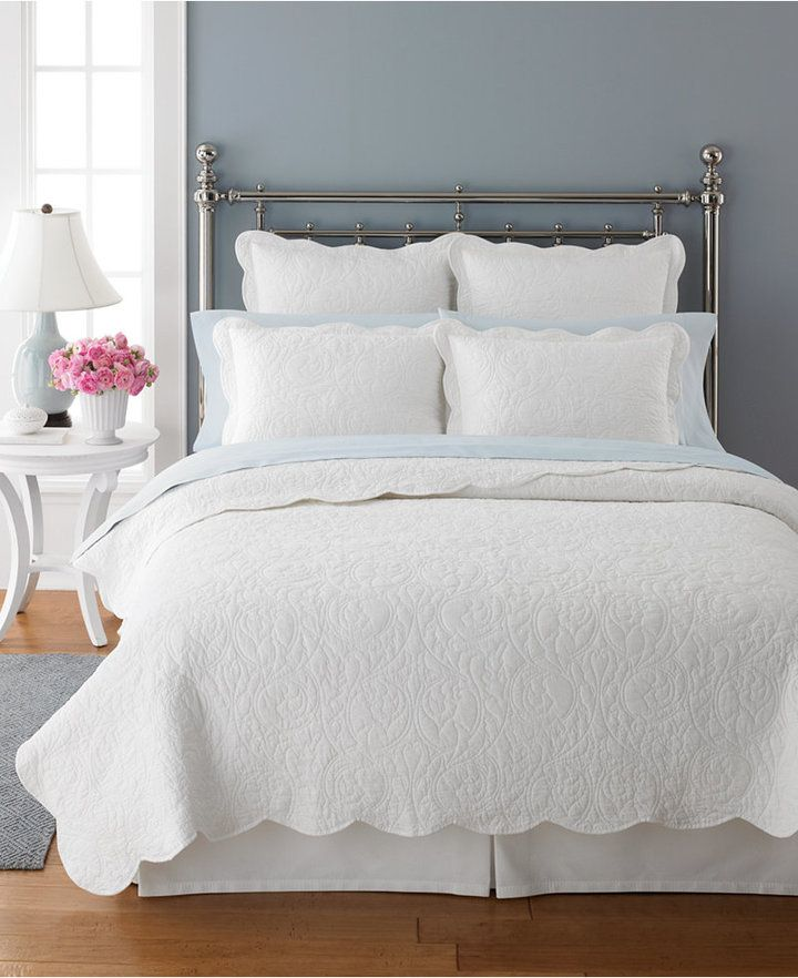 Closeout Martha Stewart Collection Damask Trace White Standard Sham