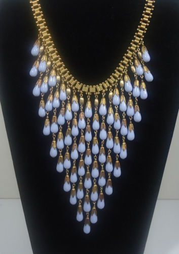 Vtg Miriam Haskell Baby Blue Glass Tear Drop Beads Bib