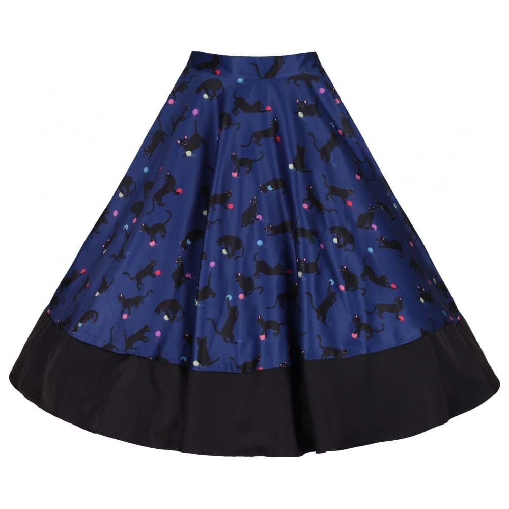 'Ohlson' Cats With Wool Print Circle Skirt - from Lindy Bop UK all the cats all the time