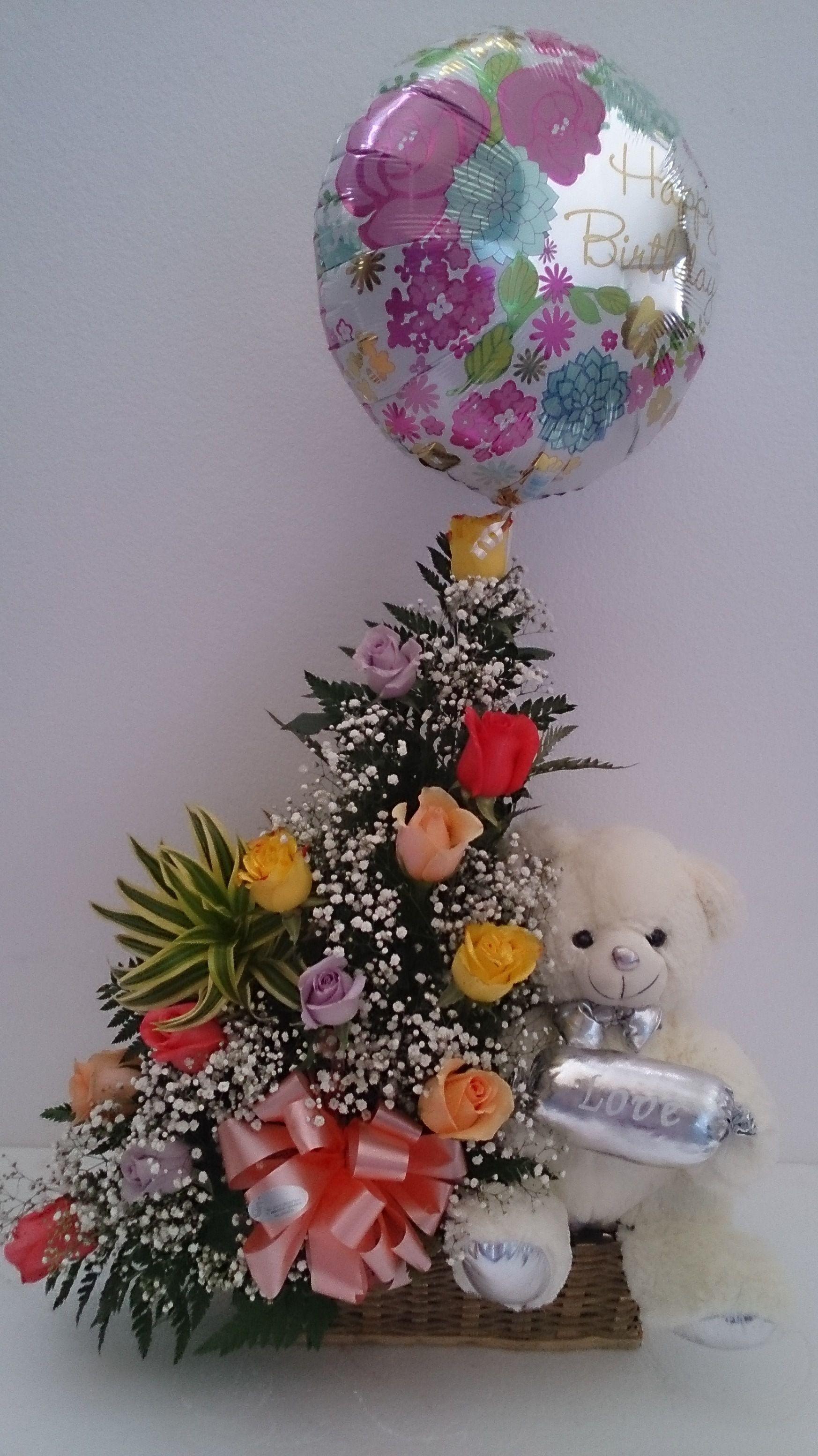 Arreglo De Cumpleaños Rosas Peluche Y Globp Arreglos