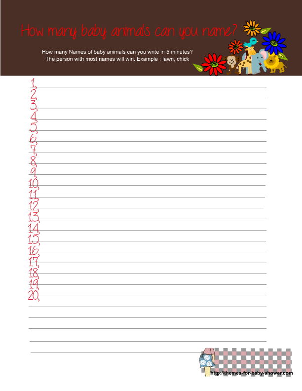 Baby Shower Games Free Printable Jungle Baby Shower Games
